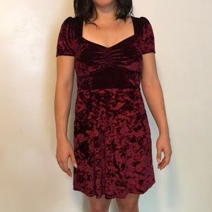 Wine colored velvet Urban Outfitters skater dress